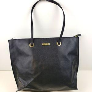 Tahari Black Faux Pebble Leather Tote Bag